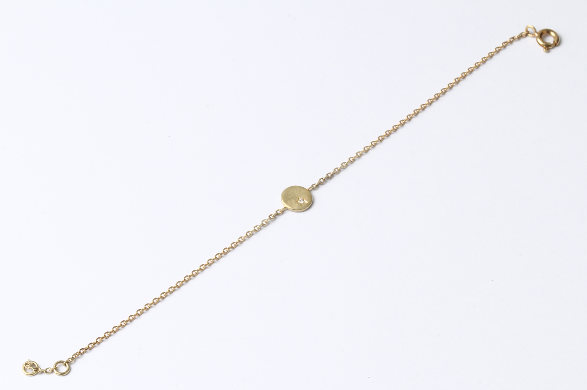 Eva Küpper, Armband 750 Gelbgold, Brillant im Sternschnitt gefasst