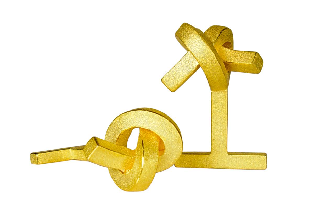 Martin Tornow, Manschettenknöpfe, Knoten kantig, Silber gelbgoldplattiert