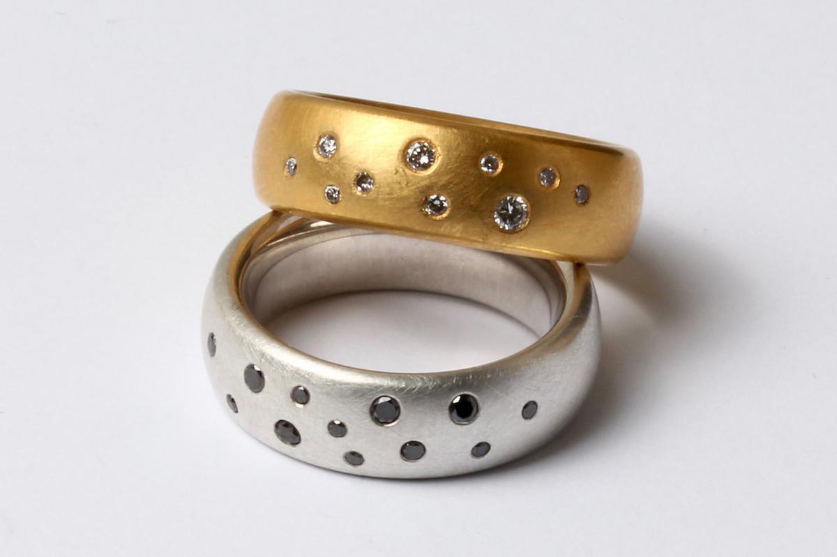 Ring Silber mit schwarzen Diamanten, Ring Feingoldplattiert mit Brillanten